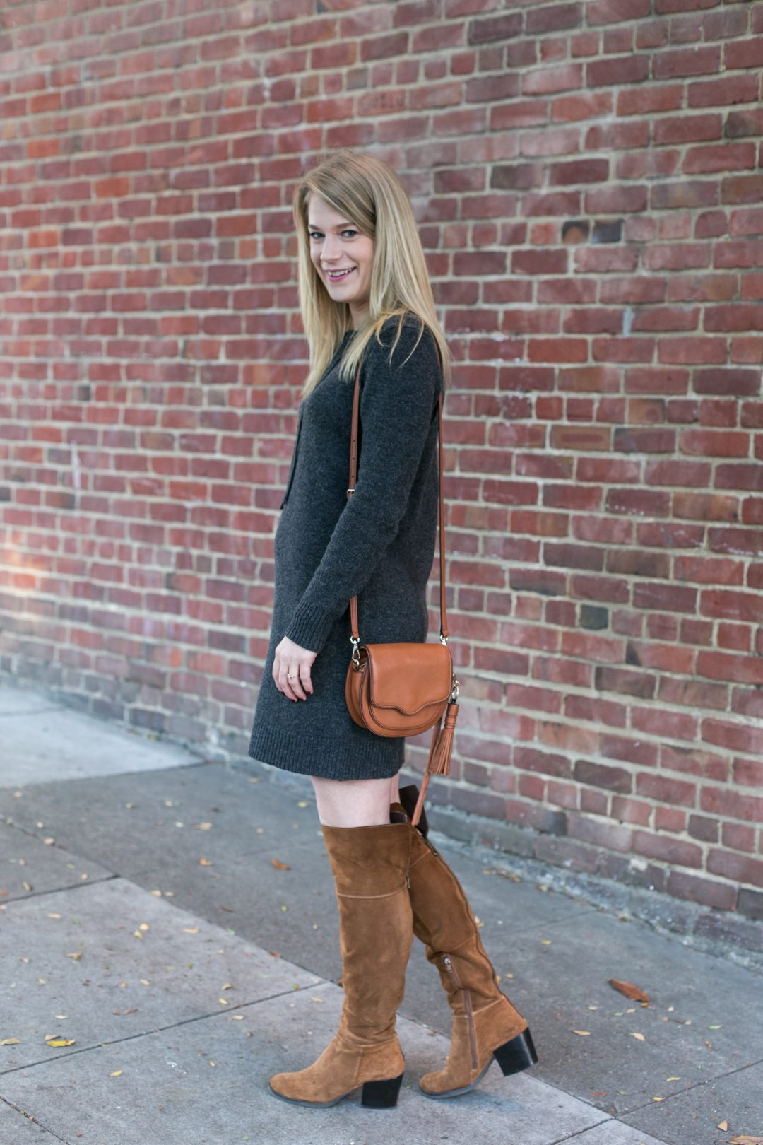 A sweater dress with over the knee boots is the perfect combination for fall
