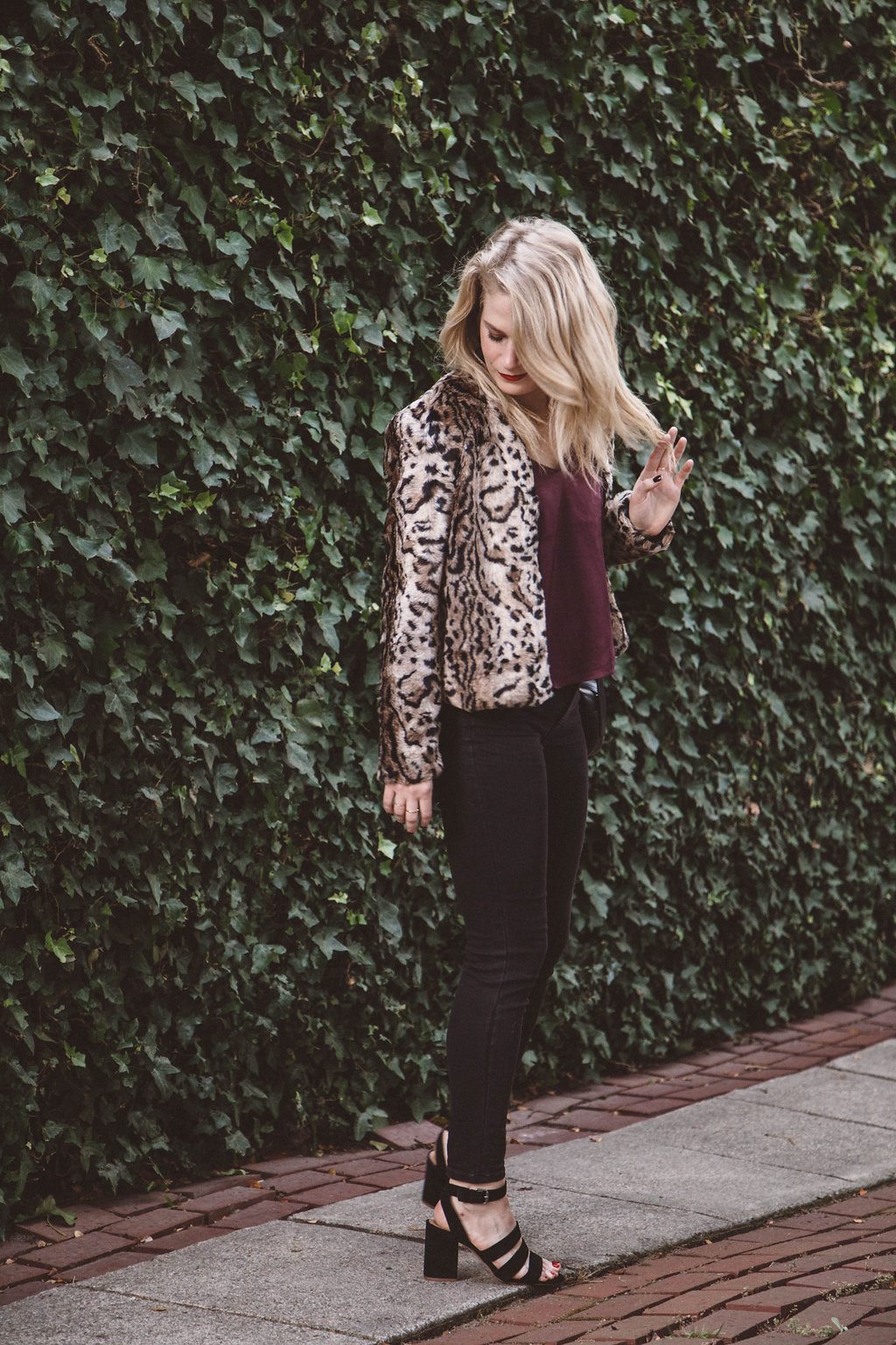 What to Wear for Thanksgiving | BB Dakota Leopard Jacket, Madewell Denim and LUSH Tank from Nordstrom